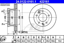 2x Bremsscheibe für Bremsanlage Vorderachse ATE 24.0122-0161.1