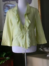 Philippe Adec Paris Light Green Linen 3/4 Sleeve  Ruffled Jacket 8