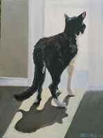 Black, White Cat Painting, Painted to Order, Oils on Canvas Original Art, Zebley