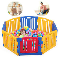 8 Panel Baby Playpen Kids Safety Play Center Yard Home Indoor Outdoor Fence