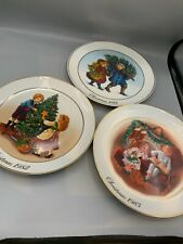 Avon Christmas Memories Porcelain Collector's Plates Vintage Set Of 3 1981-1983