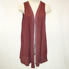NWT Kai Moon Handmade in USA Maroon Cotton Bamboo Open Duster Vest Blouse 1X