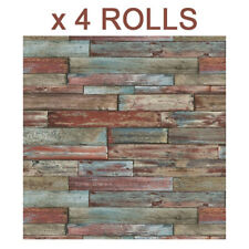 Red Wood Effect Wallpaper Blue Brown Wooden Panels Planks Weathered Boards x 4
