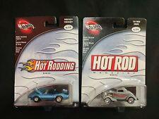 Hot Wheels Hot Rodding Rod Magazine Series Lot 2 Blue Silver 1:64 Die Cast Cars