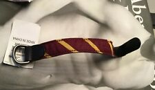 Abercrombie & Fitch A&F Gold Maroon Fabric Leather Reversible Bracelet NWT