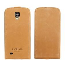 Ezreal Genuine Real Leather Case Flip Cover for Samsung Galaxy S4 Active Brown