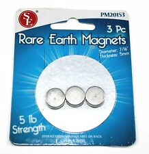 Bright Metal Plated Rare Earth 5lb Magnets - Packet of 3