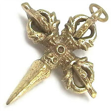 Vintage Tibetan Brass Tantric Protector Eye Pestle 3 Cross VAJRA DORJE Necklace