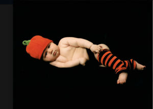 Baby Knit Hat Pumpkin Halloween Thanksgiving Leg Warmers Photoshoot 3-6 Mos