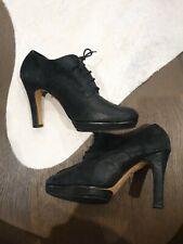 REPETTO PARIS Lace-up Bootie Heels - Black, Suede Leather - Size 39