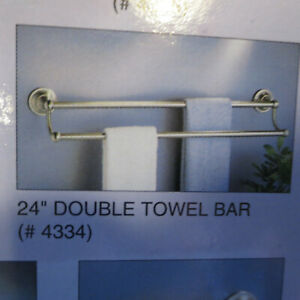 "Gatco Tiara 4334 24"" Double Towel Bar Satin Nickel NEW"