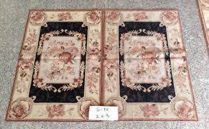 Beautiful Classic Vintage Needlepoint Rug Hand Woven French Aubusson Design