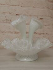 """Ruffled Milk Glass Epergne Fluted Hobnail Fountain Style 10.5"""""""