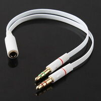 3.5mm Mic Splitter AUX Audio Cable Earphone Headphone Adapter Female to 2 Male