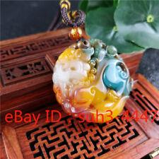 Charm Jewelry Lucky Chinese Amulet Color Jade Unicorn Pendant Necklace Fashion