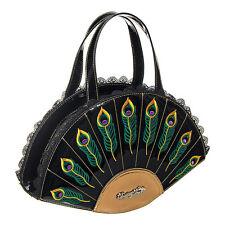 Borsa a Mano Pavone-Nero Stile Retrò Vintage Handbag-Medium altamente dettagliata