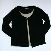Chicos Travelers Womens Blouse Layered Black Beige Top Size 2 Large EUC