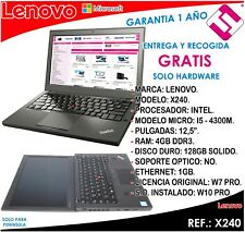PORTATIL ORDENADOR OCASION LENOVO X240 I5 4300M 2,6GHZ 4GB RAM 128GB SSD 12,5