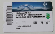 Ticket for collectors CL Sporting Lisboa Legia Warszawa 2016 Portugal Poland