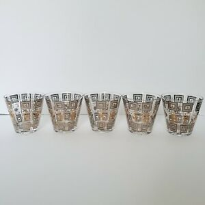 Set Of 5 Rocks Barware Gold/White Old Fashion Cocktai Glasses Squares, Flowers,