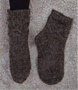 Wollsocken Strick Warme Wollsocken Kurz Handgestrickte Socken Braun Wolle Schaf