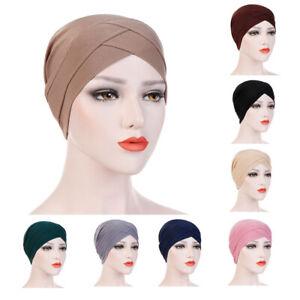 Women Stretchy Hat Chemo Bandana Turban Cross Head Wrap Muslim Scarf Hijab Cap
