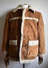 VINTAGE Schott Rancher in Pelle Scamosciata Pelle Di Pecora Foderato Cappotto Giacca Marlboro Man 38
