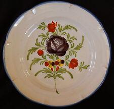 25/ Assiette ancienne en faïence populaire Fleur noire