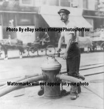 Antique New York 1908 Fireman/Firefighter Opening Water Plug/Fire Hydrant Photo
