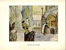 Franziskus -- Am Grabe des hl. Apostels - Coloriert - aus 1931