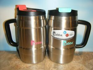 BUBBA 34 OZ STAINLESS STEEL TRAVEL MUGS IN PINK & TEAL SET *NEW*