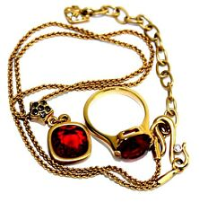 Auth Swarovski Gold Tone Chain Necklace with Ruby Pendant & Ruby Finger Ring Set