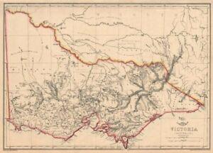 VICTORIA. Shows 1st Australian steam railway Geelong-Melbourne. WELLER 1863 map