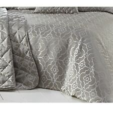 Silver Embroidered Jacquard Quilted Bedspread Luxury Bed Throwover Throw Pagoda