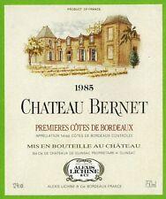 Ancienne Etiquette de vin-Bordeaux(1985)-Château Bernet-N°455
