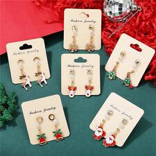 Santa Claus Navidad Pendientes para Mujeres Muñeco De Nieve Deer Campana De Navidad Árbol de Navidad de oreja