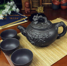 Kung Fu Pot Cup Set Chinese Porcelain Yixing Teapot Tea Pot 400ml + 3 Cups 60ml