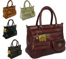 Schultertaschen aus Leder mit Außentasche (n) und zwei Trägern