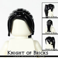 LEGO Minifigure Hair BLACK 62696 Female Girl Ponytail Long with Side Bangs
