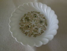 Haviland Limoges Coaster / Trinket / Pin Dish - Scalopped Green Floral - France