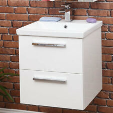 500 mm Wall hung Bathroom Vanity Unit & basin Single Tap Hole White Gloss Modern