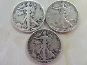1943 P & D & S  Silver Walking Liberty Half Dollar  three coin set