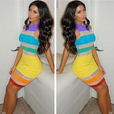 NEW Women's Summer Bodycon Evening Cocktail Party Sleeveless Rainbow Mini Dress