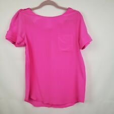 Line and Dot Women's Silk Blouse Hot Bright Pink Size Medium NWT Cuff Sleeve