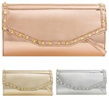 Patent Leather Medium Women Evening Bags Vintage Stud Envelope Clutch Long Strap
