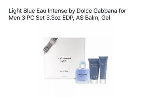 Light Blue Eau Intense by Dolce Gabbana for Men 3 PC Set 3.3oz EDP