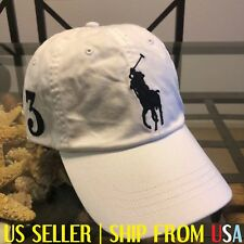 POLO RALPH LAUREN MEN WHITE BIG PONY LEATHER STRAPBACK BASEBALL CAP HAT NWT