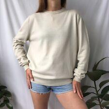 Vintage Calvin Klein Jeans Sweater- Ecru Beige Crewneck Wool Blend Jumper- Sz M