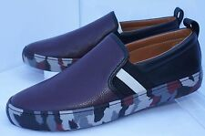 New Bally Men's Red Merlot Shoes Loafers Herald Snickers Size 10 43 Slip Ons