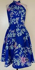 FAME AND PARTNERS Bright Blue Floral Halter Neck Stretch Knit Dress Size 10 BNWT